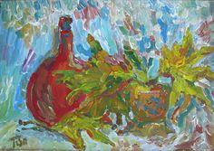 Still life with autumn leaves - Tetyana Snezhyk painting