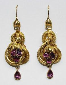 Etruscan Revival garnet set drop earrings
