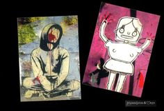 two great Postcards for all Graffiti and street art fans!  Both graffiti Ive myself photographed in Berlin.  The image has been digitally edi...