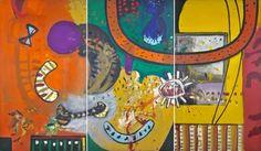 Alan DAVIE, opus O.270 Trio for Bones 1960, oil on canvas 84 x 144 in/ 213 x 366 cm (triptych)
