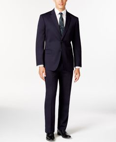 Tommy Hilfiger Slim-Fit Solid Navy Suit Traje Azul Marino 42c10532229