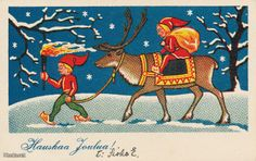ˇˇ Merry Christmas And Happy New Year, Christmas Elf, Christmas Cards, Norwegian Christmas, Scandinavian Christmas, Vintage Postcards, Elves, Childrens Books, Holiday Cards