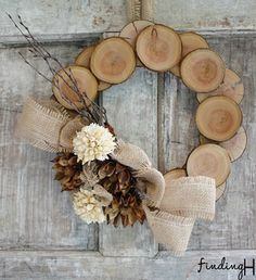 Wood & burlap natural wreath