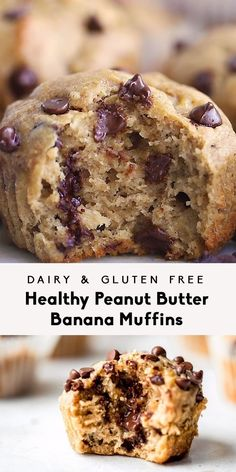 The BEST peanut butter banana muffins that are packed with protein and peanut butter flavor. Naturally sweetened with pure maple syrup, gluten free thanks to oat flour and a great on-the-go healthy breakfast or snack. Try them with mini chocolate chips! Healthy Sweets, Healthy Baking, Healthy Yogurt, Healthy Drinks, Heart Healthy Desserts, Dessert Healthy, Healthy Desserts With Bananas, Baking With Bananas, Healthy Chocolate Desserts
