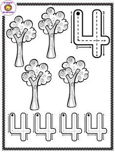 Free Spring tracing worksheet number four 4 trees Free Kindergarten Worksheets, Preschool Curriculum, Preschool Lessons, Preschool Math, Numbers For Kids, Numbers Preschool, Learning Numbers, Writing Numbers, Toddler Learning Activities
