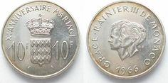 1966 Monaco MONACO 10 Francs 1966 WEDDING of RAINIER III. & GRACE KELLY silver UNC # 95125 UNC