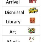 Includes the following 30 cards:  Our Schedule, Arrival, Dismissal, Library, Art, Music, Gym, Computers, Dance, Recess, Snack, Lunch, Homeroom, Spe...