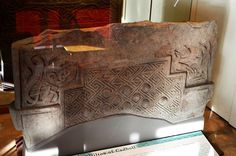 This is cross side base of the Hilton Stone in the Seaboard Memorial Hall in Balintore, in Easter Ross. Found about 2002-3, during the excavations on the eastern side of the Hilton Chapel in Easter Ross. The carvings on this part of the stone are sharp, because it was buried for about 1200 years.