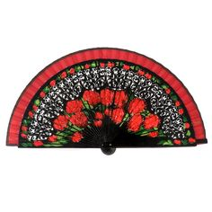 Spanish painted wood hand fan