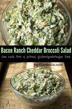 Bacon Ranch Cheddar Broccoli Salad - Low Carb, Keto, THM S. Fast and easy. Bacon Ranch Cheddar Broccoli Salad - Low Carb, Keto, THM S. Fast and easy. The perfect side dish for your next picnic or party! Healthy Broccoli Salad, Broccoli Recipes, Vegetable Recipes, Broccoli Dishes, Vegetable Salad, Keto Foods, Keto Recipes, Healthy Recipes, Free Recipes