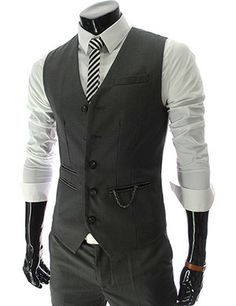 2e22a7c5d547 Chain Zipper Pocket 5 Button Slim Vest Grey Vest, Chains For Men, Suit Vest