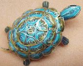 Exquisite Fine Filigree Brooch Blue Enamel on Sterling Figural Pretty Turtle Brooch