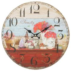 This listing is for one Vintage Style Shabby Chic MDF Family  Scene Vintage Style Wall Clock with Decorative Hands. Price £14.99