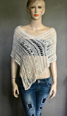 Summer Cover-up Summer Poncho. Cotton by CasadeAngelaCrochet