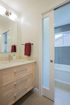 #bathroom #hardwood #white #glass #sink #StainlessSteel #tile #slidingdoor #interiordesign #hillcrestdesign http://www.hillcrestdesign.ca
