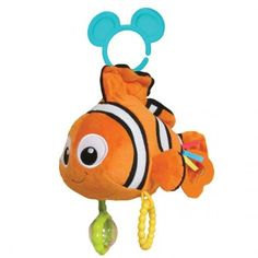 Give your little clownfish a friend at playtime. This plush activity toy featuring Nemo from FINDING NEMO is sure to lure in giggles as it dangles from a stroller for crib with its on-the-go clip. Fun features include a clear bead rattle, a textured ring and a teether tail fin. Plus there's crinkle texture and an exciting chime noise inside!