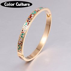 Enamel Bracelet Bangles 18K Gold Plated Stainless Steel Bangle Opened for Women Jewelry Bracelet Top Quality Factory Price