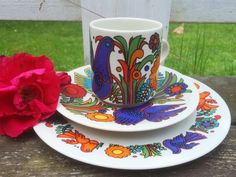 Modern Acapulco 1970s vintage retro breakfast set by by Inspiria, $35.00