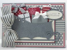 Christmas - sled ~~ Stampin Up top note die cut Christmas Paper Crafts, Christmas Cards To Make, Xmas Cards, Handmade Christmas, Holiday Cards, Christmas Sled, Christmas Ideas, Chrismas Cards, Hanukkah Cards