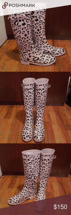HUNTER Refined Leopard Print Tall Rain Boots BRAND NEW!! This patterned waterproof boot offers a feminine take on Hunter's classic Refined Tall Rain Boot. Handcrafted from natural vulcanized rubber with a leopard print, this festival friendly welly features a slim fit, a moulded foot bed, handcrafted from printed natural vulcanized rubber, fully waterproof, slim fit with moulded foot bed, polyester lining, non-slip rubber outsole with original tread pattern. BRAND NEW, NEVER WORN, NO BOX…