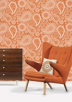 Paisley_Crescent_Tangerine  https://www.facebook.com/ThreeLittlePigsColourAndDesign #orange #chairs #wallpaper