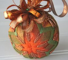 Fall Quilted Ornament Ball/Orange and Green  - Autumn Haze