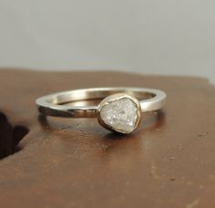 Wood inlay?   White Uncut Diamond Engagement  Ring, 14k Gold and Sterling Silver Rough Diamond Ring, Alternative Engagment, Conflict Free Diamond
