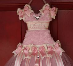 Tutu Bow Holder - Shabby Chic Pink and Cream - Pick your Size - Personalized for Free on Etsy, $39.00
