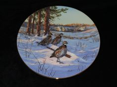 """1991 W.S. George Field Birds of North America """"Morning Light: Bobwhite Quail"""" Collector Plate by Darrell Bush by ThePlateHutchII on Etsy"""