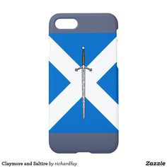Claymore and Saltire iPhone 8/7 Case.  ENDS AT 6PM PT: 50% Off with code ZAZZLESAVING.  #Zazzle #phone_case #Claymore #two_handed_sword #sword #Scottish_saltire #saltire