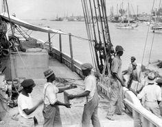 El Arethusa cargando alcohol en las Bahamas. Mariners Museum