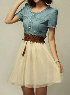 $8.65 - Elegant Women's Scoop Neck Short Sleeve Denim Splicing Chiffon Dress