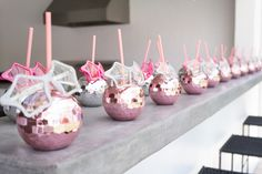 Disco ball drink containers from a Glam Pop Star Birthday Party on Kara's Party Ideas | KarasPartyIdeas.com (14) Dance Party Birthday, Birthday Party Themes, Dance Party Kids, 9th Birthday, Star Wars Party, Rockstar Party, Barbie Theme Party, Disco Party Decorations, Party Favors For Adults