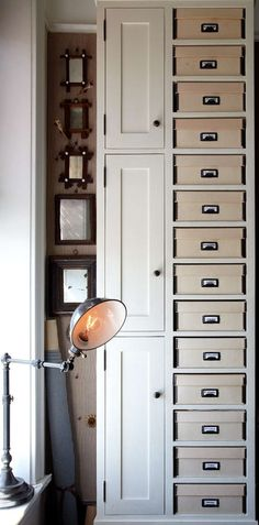 cubby holes for your file boxes, Vintage style in the WestVillage - desire to inspire - desiretoinspire.net