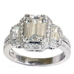 Vintage Platinum And White Gold Art Deco Style 1930s Engagement Ring