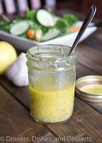 Lemon Garlic Vinaigrette ... ½ cup olive oil ¼ cup cider vinegar 3 cloves garlic, grated 1 lemon, juiced 1 tsp dried thyme 1 tsp salt ¼ tsp pepper 1 tsp dijon mustard 1 tbsp honey