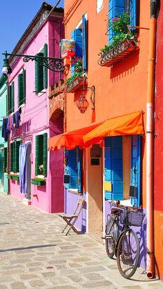 ↑↑TAP AND GET THE FREE APP! Art Creative Multicolor City Travel Bike Street Shop Pink Orange HD iPhone 6 Plus Wallpaper