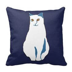 White-Blue Cat With Dark Blue Backgroung. Digital art. Unique and trendy.