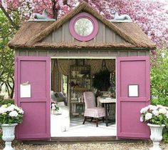 Pink thatched roof she shed