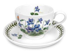Portmeirion 'Botanic Garden' Flower-of-the-Month 7oz Tea Cup & Saucer for February in Sweet Violet (Viola odorata)