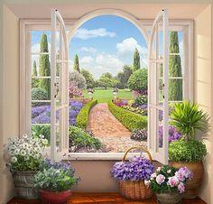 """Các cửa sổ trong mùa hè - Kế hoạch thêu - vetka - Tác giả - Portal """"Cross Stitch"""""""