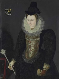 Portrait of a lady traditionally identified as (but possibly not) Lady Anne Bowyer, née Salter. Circle of Marcus Gheeraerts the Younger. Dated 1614.
