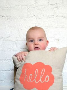 Hand Printed Linen Cushion Cover  Hello by hellomilky on Etsy. Too cute!!