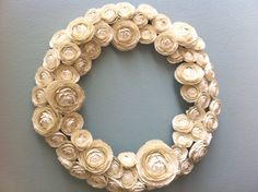 White ranunculus wreath