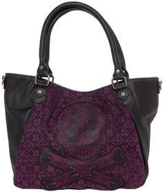 LOUNGEFLY BLK/PURPLE TWEED SUGAR SKULL CROSSBODY BAG This bag is the perfect everyday purse. This tweed bag has faux leather sides and an embroidered sugar skull applique with crossbones! It has handles so it can be easily carried and a removable adjustable shoulder strap so you can sling it over for easy carrying. This fun bag has a snap closer for quick reaching in and out of and a small interior zip pocket. Be sure to grab the matching wallet too! $64.00 #loungefly #purse #sugarskull…