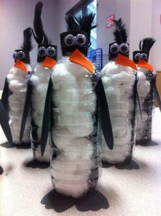 penguins of  old plastic bottles