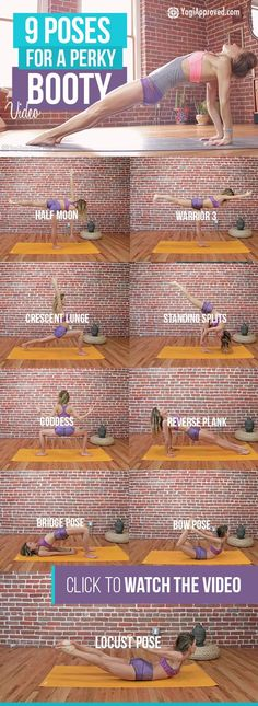 9 Yoga Poses For a Perky Booty (Video) Yoga for health, yoga for beginners, yoga poses, yoga quotes, yoga inspiration