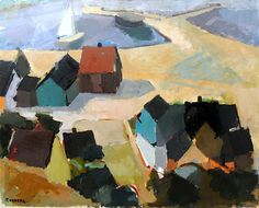 GUSTAV RUDBERG 1915-2001 Coastal Landscape with Sailboat