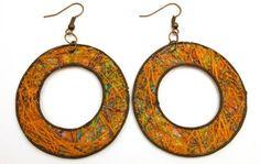 Fique Donuts Eco Friendly Earrings, orange  Price : $22.00 http://www.enloops.com/Fique-Donuts-Friendly-Earrings-orange/dp/B00BSJXSA6