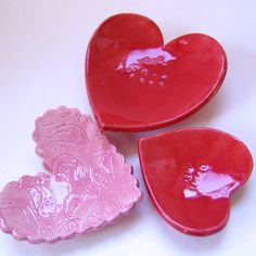 Love Birds pottery hearts -- set of 3 dishes -- Pink & Red soap dish, candle holder, ring dish, true love, kiss me, candy hearts by maryjudy on Etsy